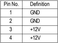 Pin No. Definition 1 GND 2 GND 3 +12V 4 +12V
