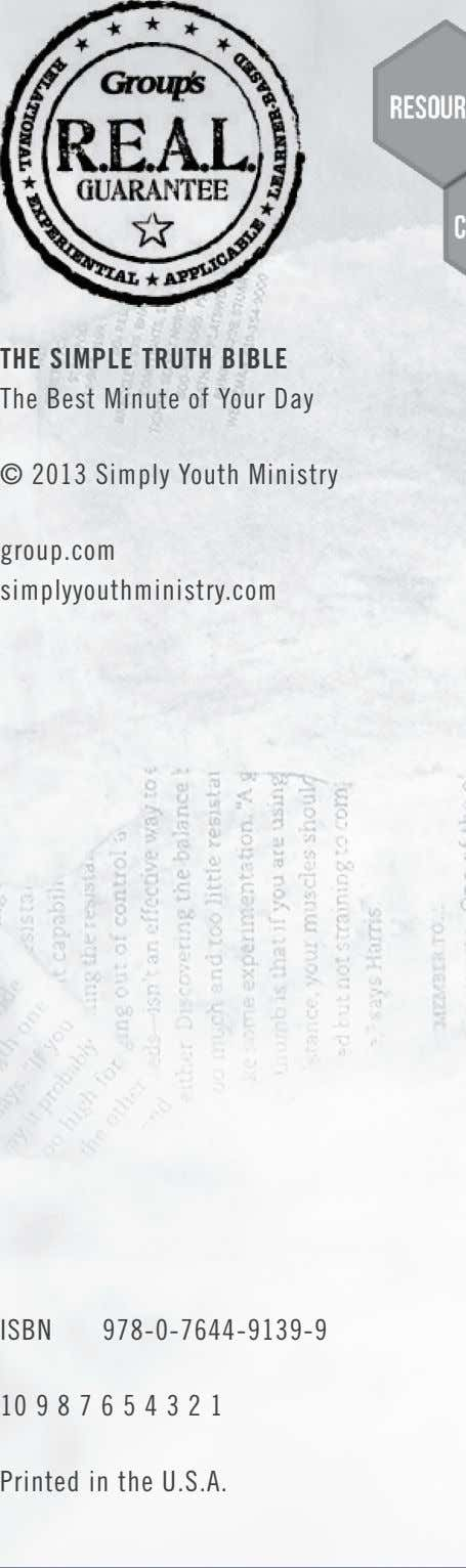 THE SIMPLE TRUTH BIBLE The Best Minute of Your Day © 2013 Simply Youth Ministry