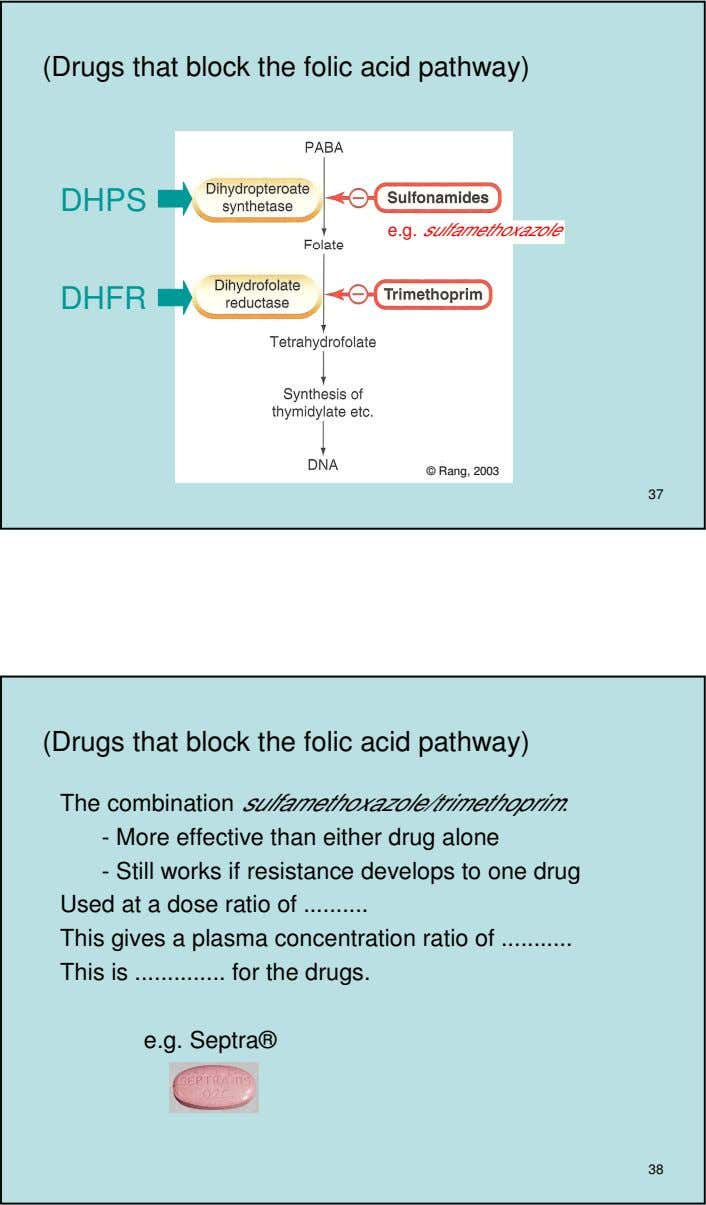 (Drugs that block the folic acid pathway) DHPS e.g. sulfamethoxazole DHFR © Rang, 2003 37