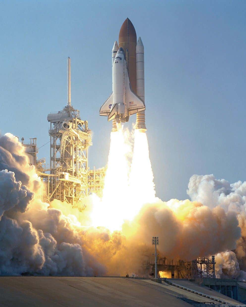 Discovery lifts off Aug. 10, 2001, on mission STS-105, an assembly flight to the International