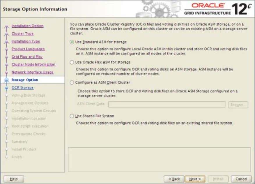 Action: Select radio button 'Automatic Storage Management (ASM) and click ' Next>' 25