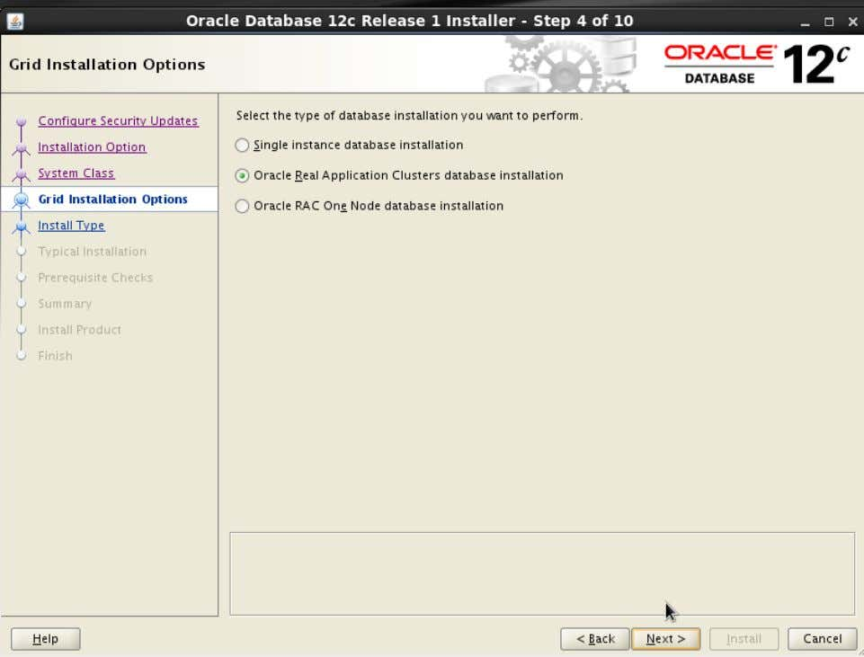 Action: Click 'Oracle Real Application Clusters database installation' . Then click ' Next>' 48