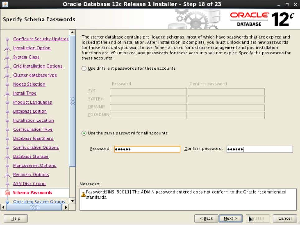 Action: Enter the password for sys, system, etc., user accounts. Then click ' Next>' 62