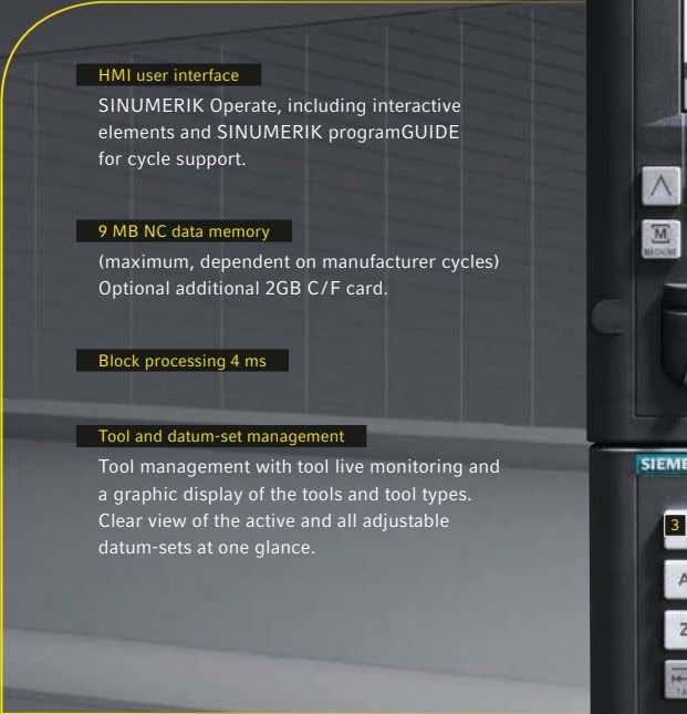 HMI user interface SINUMERIK Operate, including interactive elements and SINUMERIK programGUIDE for cycle support. 9