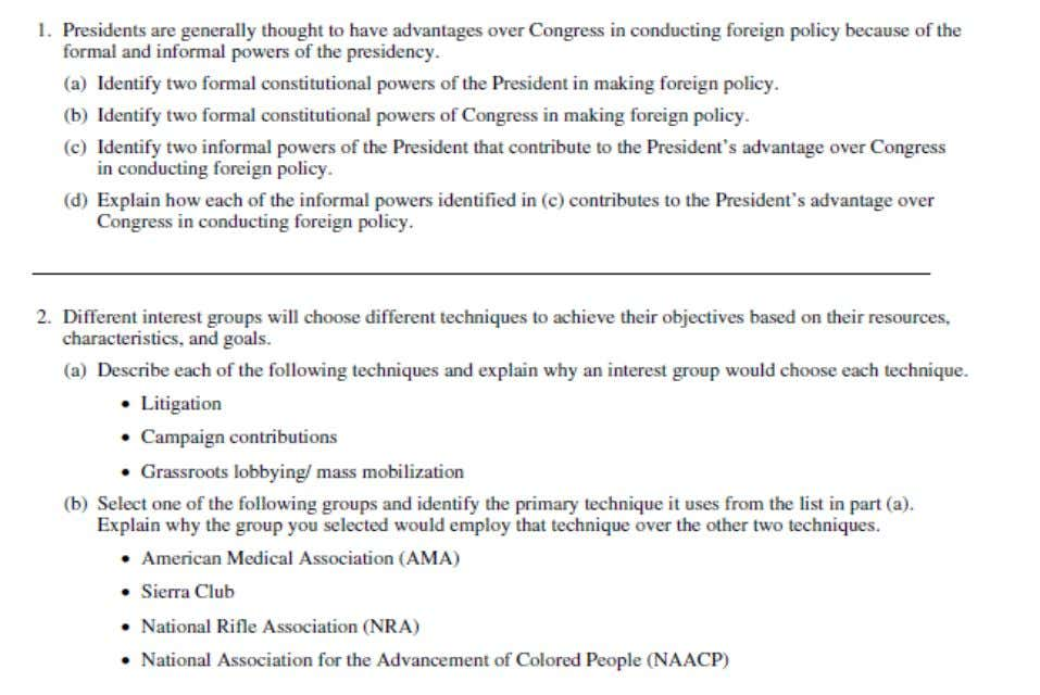 2004 AP ® UNITED STATES GOVERNMENT AND POLITICS FREE-RESPONSE QUESTIONS