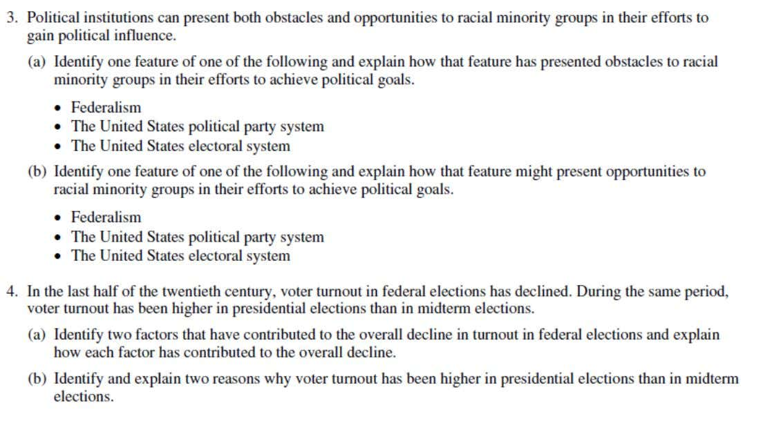 2002 AP ® UNITED STATES GOVERNMENT AND POLITICS FREE-RESPONSE QUESTIONS
