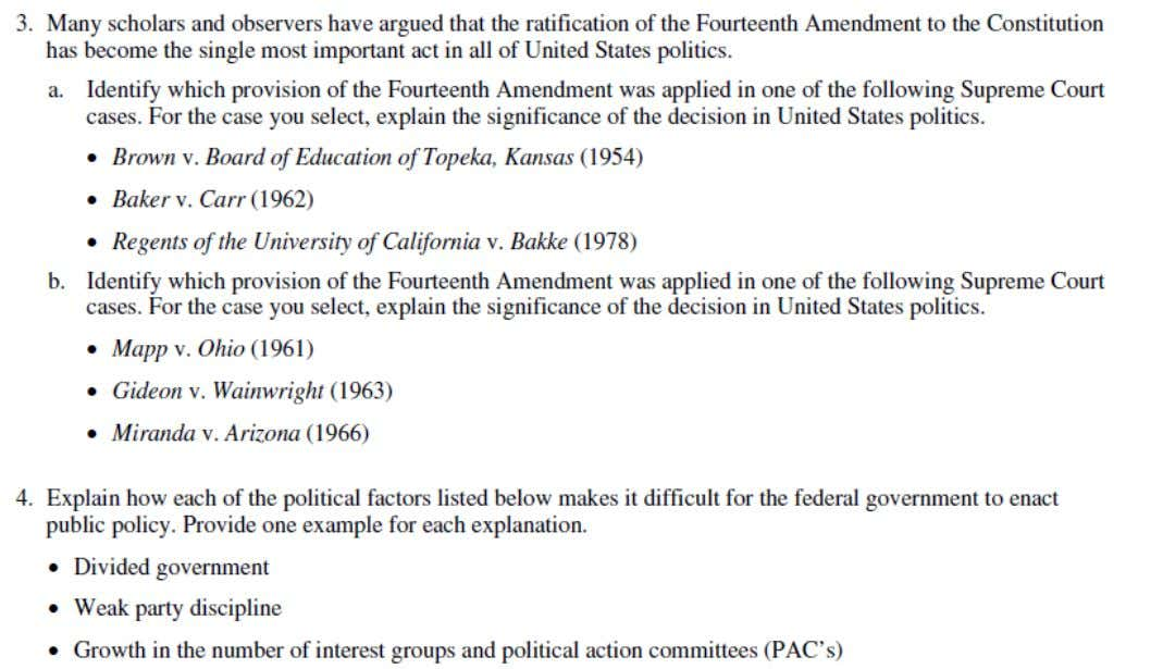 2001 AP ® UNITED STATES GOVERNMENT AND POLITICS FREE-RESPONSE QUESTIONS