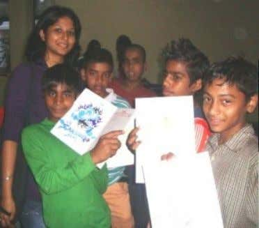 with their favourite didi or bhaiya!!! } or 'Your future profession'. The Children and volunteers at