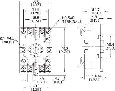 for MS4SM (11-pin) TP411X Socket for MS4SM (11-pin) TP411SBA Cutout for panel mounting TP48SB and TP411SBA