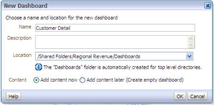 8/29/13 Creating Analyses and Dashboards Notice that a Dashboards subfolder was automatically created inside the
