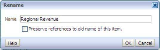 Regional Revenue in the Name text box and click OK . The Dashboard Properties dialog box