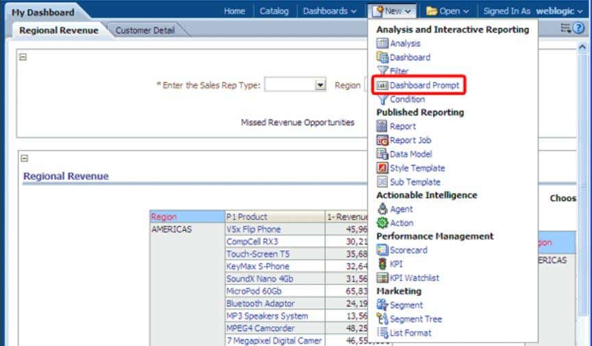 8/29/13 Creating Analyses and Dashboards The Definition pane appears. The Definition pane allows you to add,