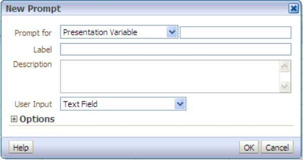8/29/13 Creating Analyses and Dashboards c. Accept Presentation Variable as the default prompt type. d. In