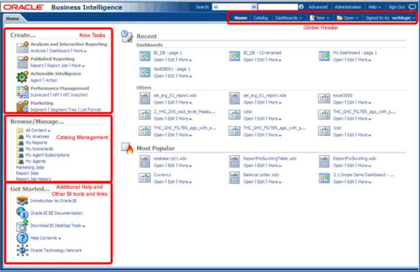 their respective editors, help documentation, and so on. Throughout Oracle BI EE, common icons have been
