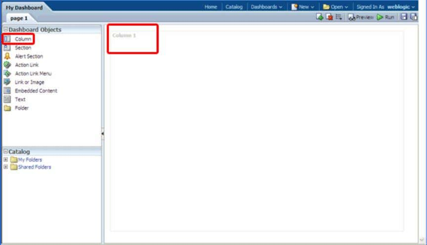 pages. Drag the Column object onto the Page Layout pane. The Column object appears on the