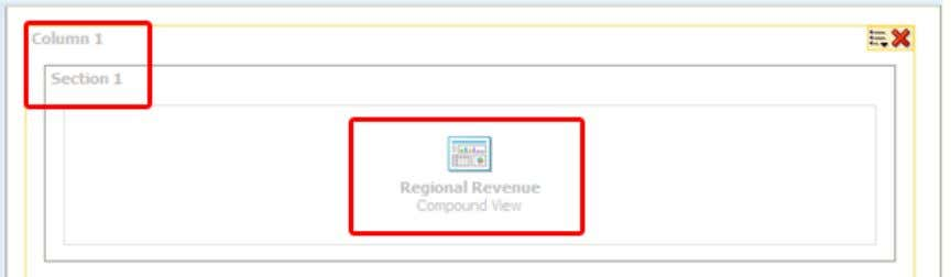 b. Drag the Regional Revenue analysis to the Column 1 . Regional Revenue appears in the
