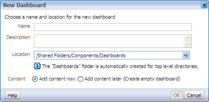and Dashboards The New Dashboard dialog box appears. 2 . a. Enter Customer Detail in the