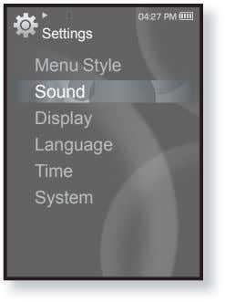 Settings Menu Style Sound Display Language Time System