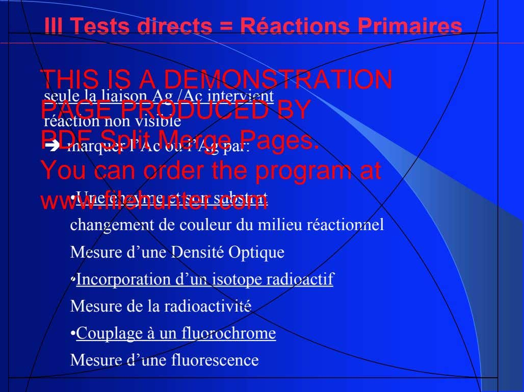 III Tests directs = Réactions Primaires THIS IS A DEMONSTRATION seule la liaison Ag /Ac