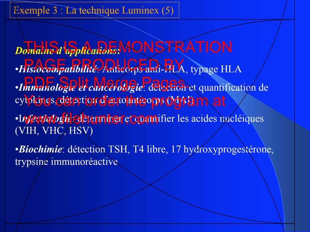 Exemple 3 : La technique Luminex (5) THIS IS A DEMONSTRATION Domaine d'applications: PAGE PRODUCED