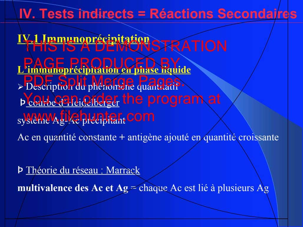 IV. Tests indirects = Réactions Secondaires IV.1 Immunoprécipitation THIS IS A DEMONSTRATION PAGE PRODUCED BY