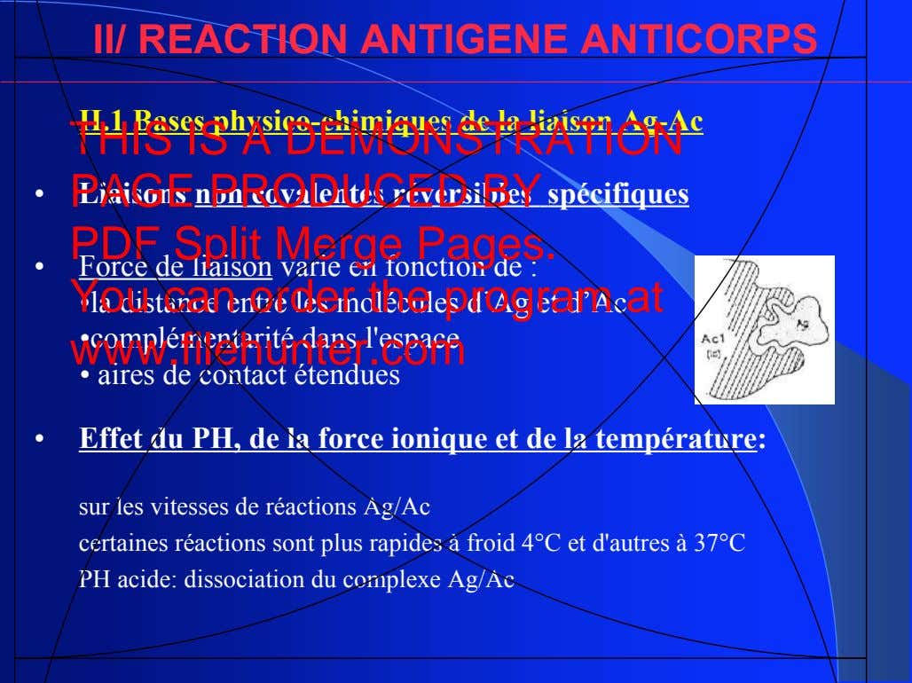 II/ REACTION ANTIGENE ANTICORPS II.1 Bases physico-chimiques de la liaison Ag-Ac THIS IS A DEMONSTRATION