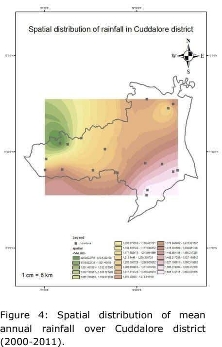 Figure 4: Spatial distribution of mean annual rainfall over Cuddalore district (2000-2011).