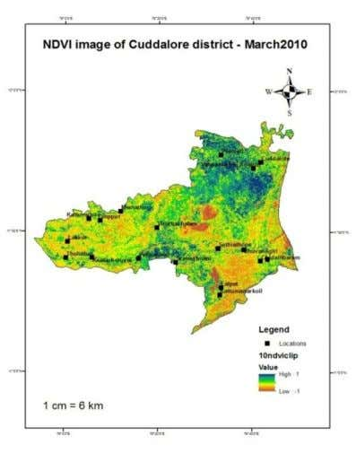 nagar, Sethiathope are the areas that are under less vegetation cover. Figure 6: NDVI image of