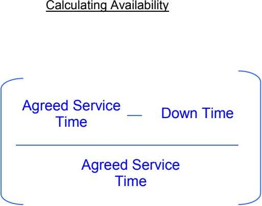 Calculating Availability Agreed Service Time Down Time Agreed Service Time