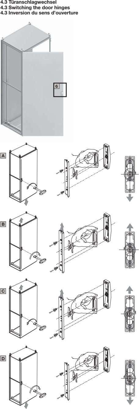 4.3 Türanschlagwechsel 4.3 Switching the door hinges 4.3 Inversion du sens d'ouverture 6 A B