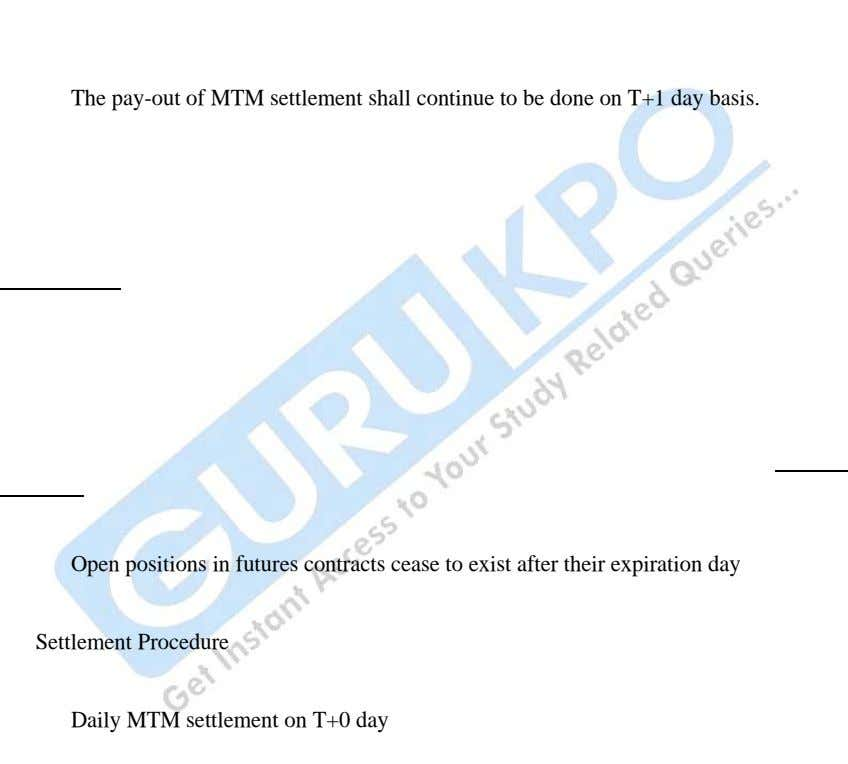 The pay-out of MTM settlement shall continue to be done on T+1 day basis. Open