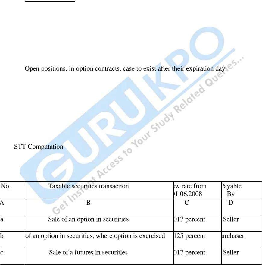 Open positions, in option contracts, case to exist after their expiration day. What is Securities