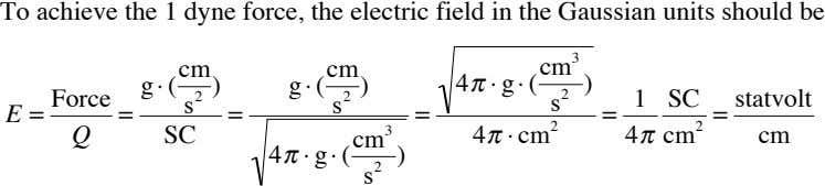To achieve the 1 dyne force, the electric field in the Gaussian units should be
