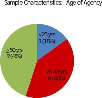 Sample Characteristics: Age of Agency <25 yrs 3 (15%) > 50 yrs 9 (45%) 25-49