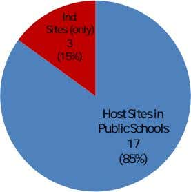 Ind Sites (only) 3 (15%) Host Sites in Public Schools 17 (85%)