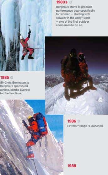 1980s Berghaus starts to produce performance gear specifically for women — starting with skiwear in