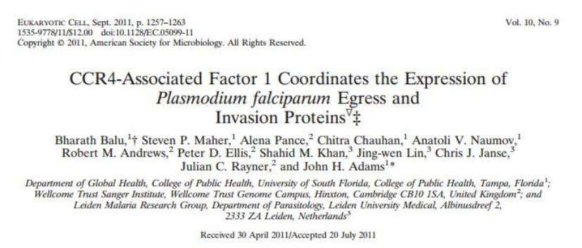 is the only Not complex protein in Plasmodium to be characterized • Forward genetic screen •