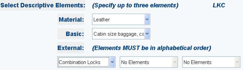 Note: The external elements selected must be entered in the alphabetical order of their codes.