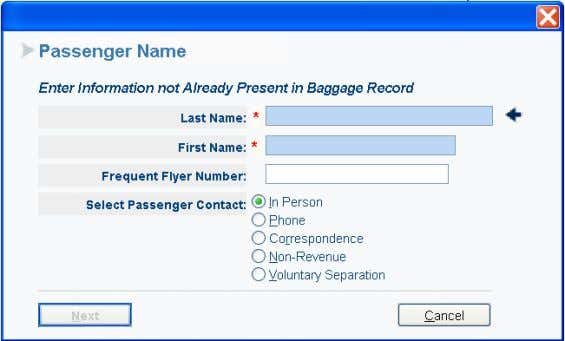 Add Passenger Name • Enter Last Name • Enter First Name • Select type of Passenger
