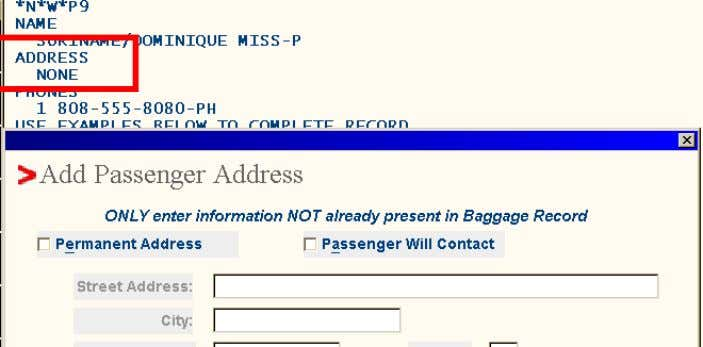 if the required data is captured. See the following example: This Baggage record was created from