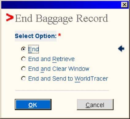 Record pop-up window displays: End Baggage Record hotkey • Select Option: Sabre Airline Solutions Training