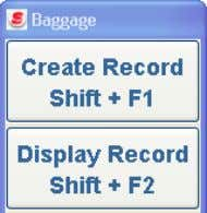 Baggage labels to activate the Display Record functions. The Display Record Options pop-up window displays. •