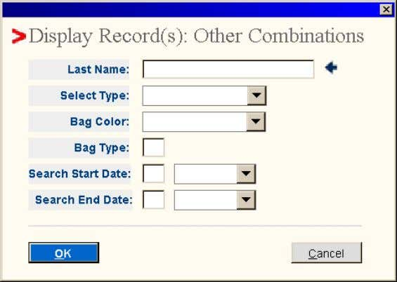 Option: o Other Combinations • Select <OK> The Display Record(s): Other Combinations pop-up window