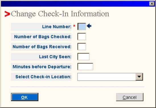 CHECKIN 04/02/S/0120/YVR YVR.YVR5LK 1841/22MAY05 QRDIRW • Line number – enter the numeral 1 (In a Baggage