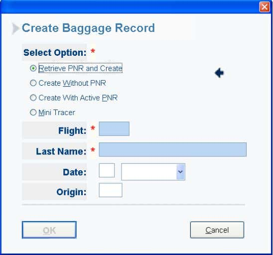 To create a baggage Record: • Select Option: o Create Record Without PNR o Retrieve