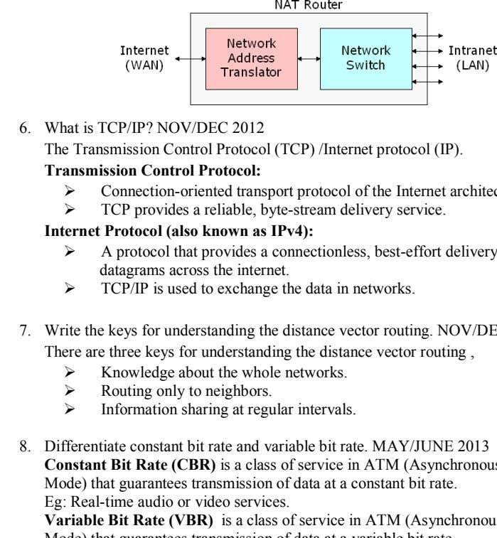 6. What is TCP/IP? NOV/DEC 2012 The Transmission Control Protocol (TCP) /Internet protocol (IP). Transmission