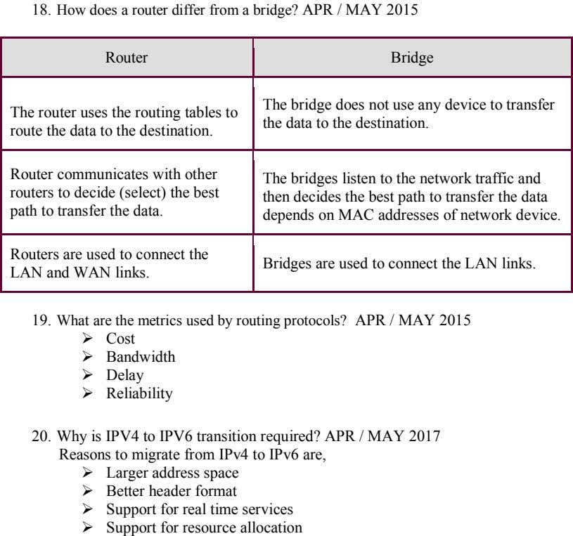 18. How does a router differ from a bridge? APR / MAY 2015 Router Bridge