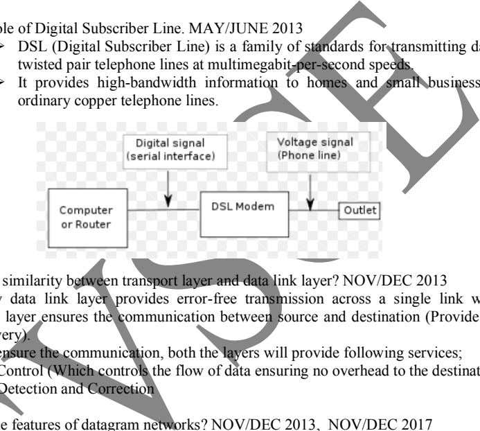   15. State the role of Digital Subscriber Line. MAY/JUNE 2013 DSL (Digital Subscriber