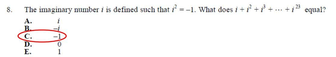 College Algebra Placement Test Sample Questions This is an example of Complex Numbers (basic operations, equations,
