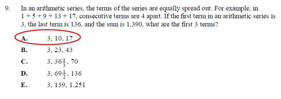 College Algebra Placement Test Sample Questions This is an example of Arithmetic and Geometric Sequences and